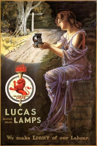 Lucas Poster from circa 1910 advertising the 'Silver King', a cycle oil lamp. Courtsey of British Motor Industry Heritage Trust.